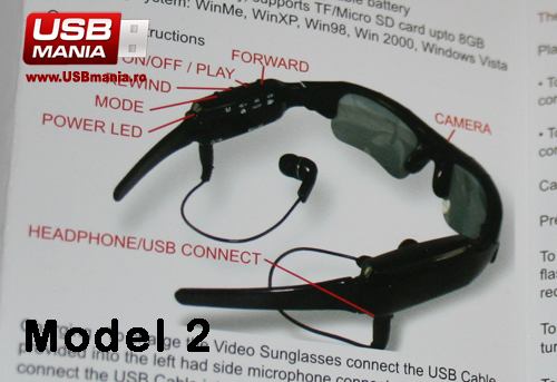 ochelari cu camera video si mp3 player