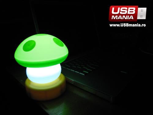 lampa usb verde ciupercuta